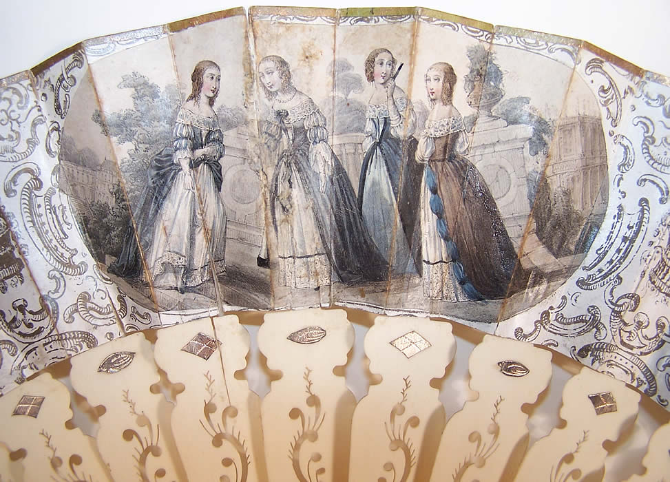 Victorian Italian Lithograph Foil Inlay Pierced Sticks Fan