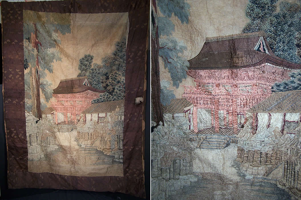 Antique Japanese Silk Embroidered Wall Hanging Tapesrty