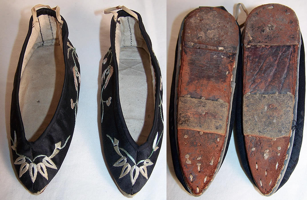 Antique Chinese Bound Foot Lotus Slipper Shoes
