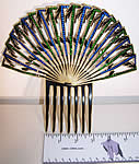 Art Deco Green Blue Rhinestone Large Flapper Hair Comb