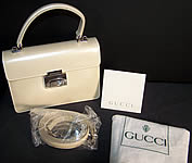 Gucci Cream Patent Leather Small Shoulder Bag Purse