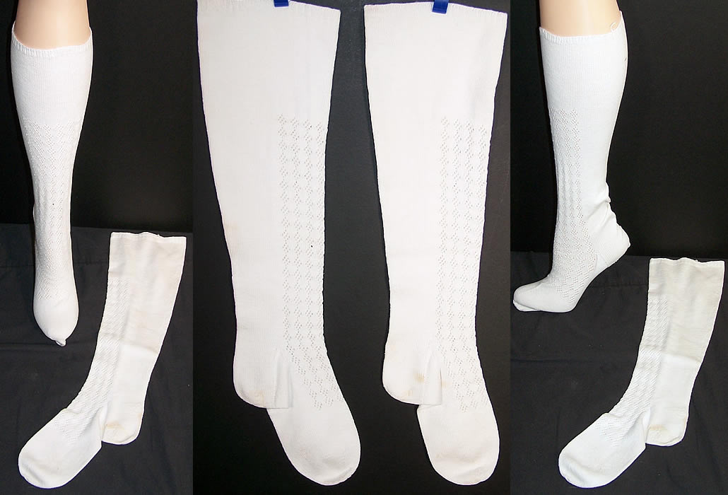 Victorian Hand Knit White Wool Stockings Socks  Front view.