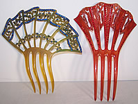 Art Deco Blue & Red Rhinestone Flapper Hair Comb Lot