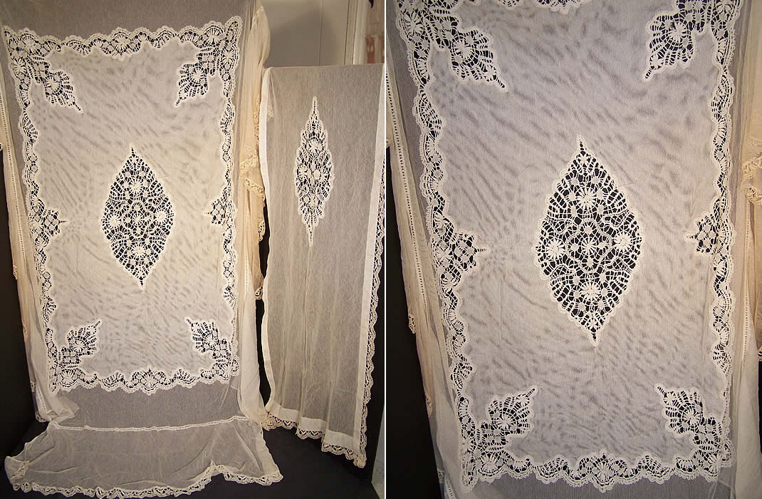Antique Cluny Bobbin Lace Net Bedspread & Pillow Sham  Front view.