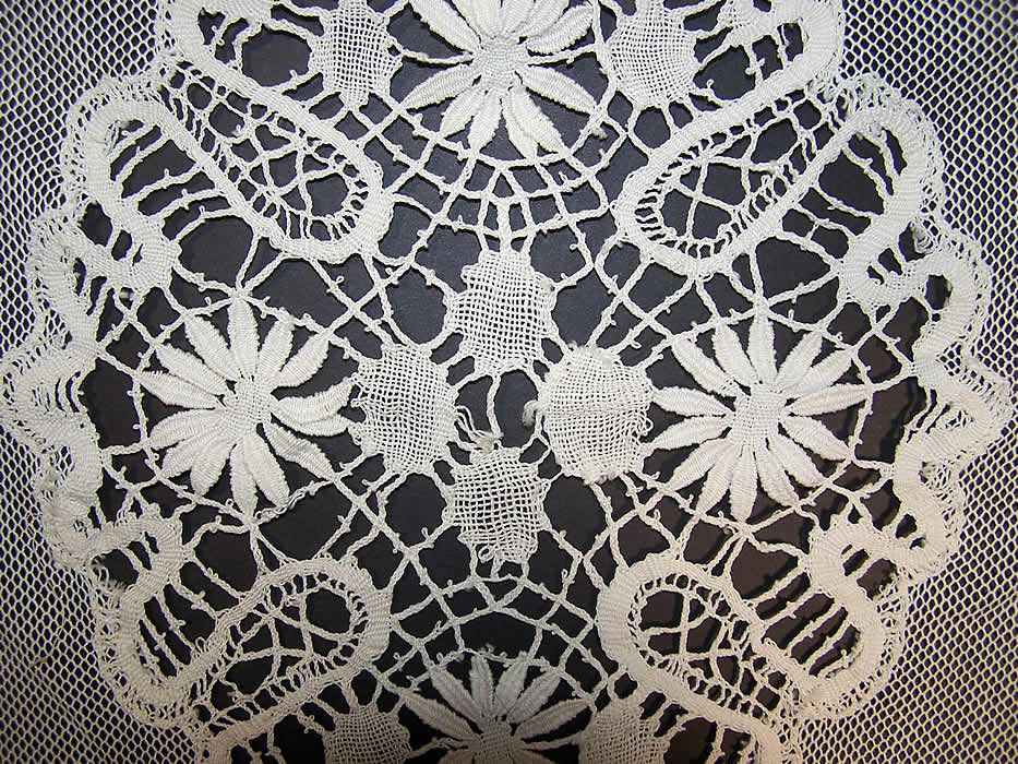 Antique Cluny Bobbin Lace Net Bedspread & Pillow Sham Close up.