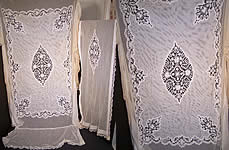 Antique Cluny Bobbin Lace Net Bedspread & Pillow Sham
