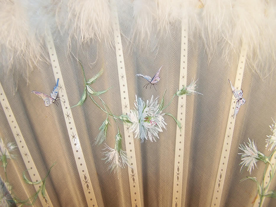 Victorian Dandelion Butterfly Feather Fan & Box  Close up.
