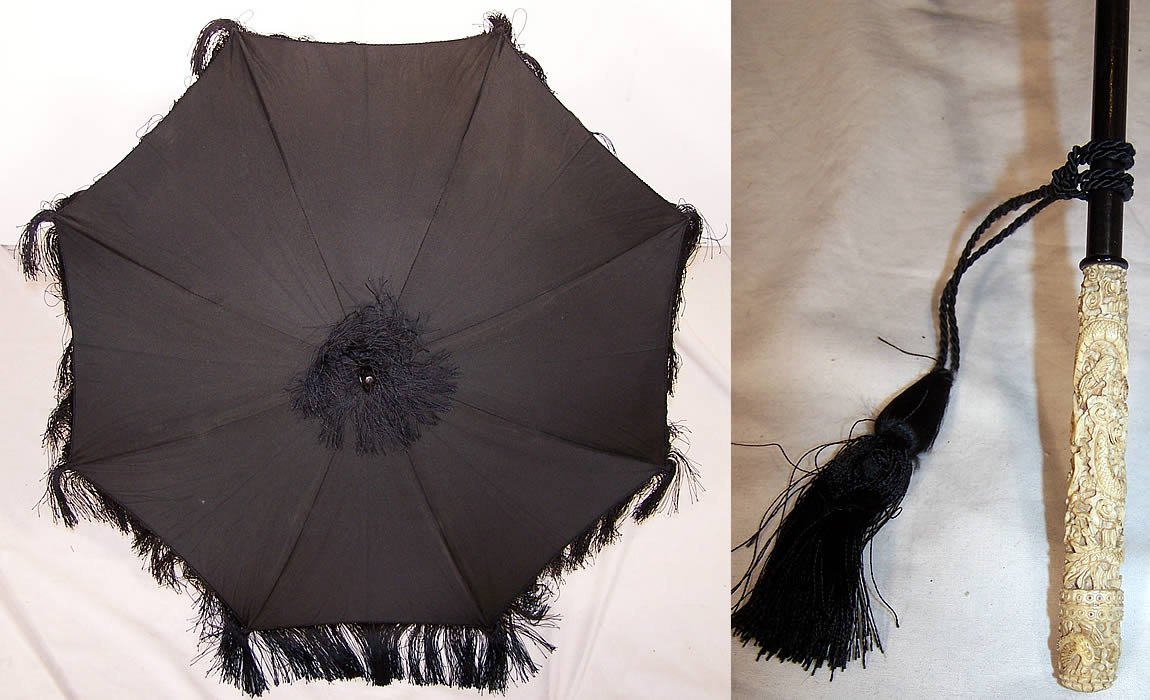 Victorian Black Silk Mourning Parasol Dragon Carved Handle  Front view.