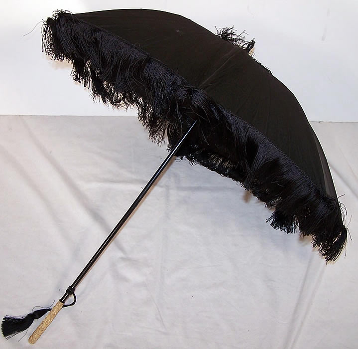 Victorian Black Silk Mourning Parasol Dragon Carved Handle side view
