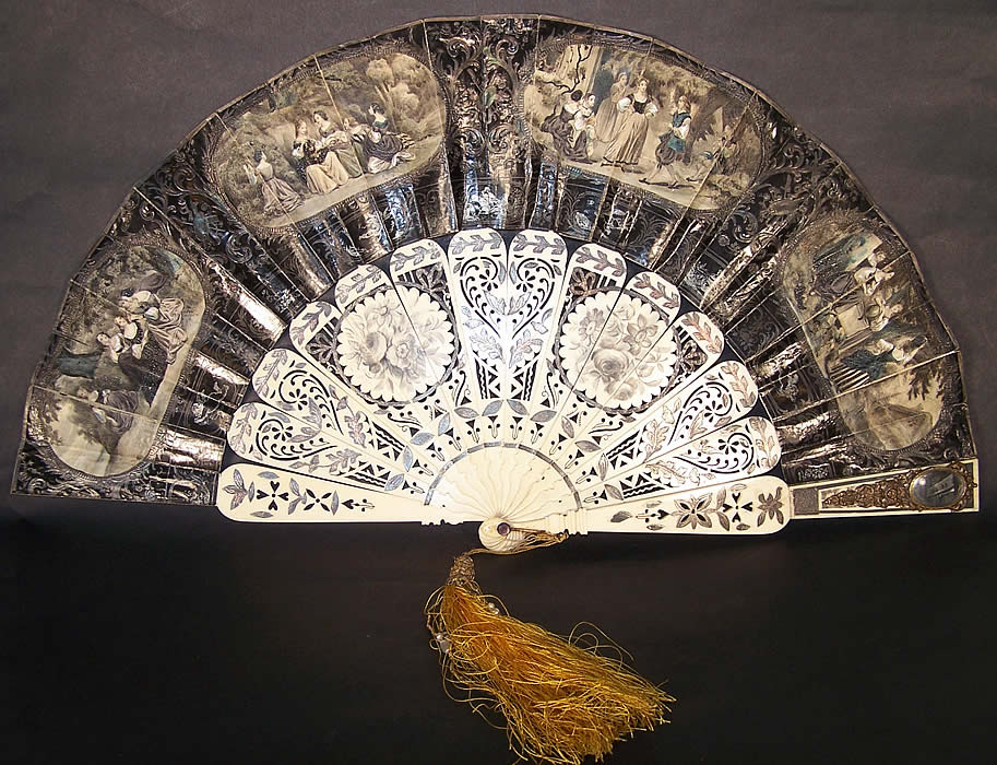 Victorian Lithograph Foil Inlay Pierced Flirting Mirror Fan  Front view.