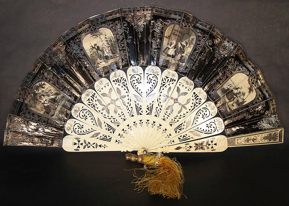 Victorian Lithograph Foil Inlay Pierced Flirting Mirror Fan Back View.