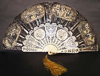 Victorian Lithograph Foil Inlay Pierced Flirting Mirror Fan