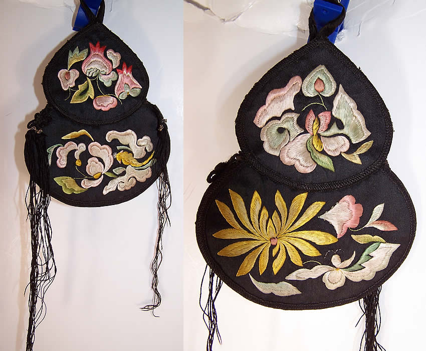 Antique Chinese Gourd Silk Embroidered Pouch Purse  Front and Back view.