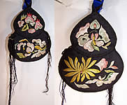 Antique Chinese Gourd Silk Embroidered Pouch Purse