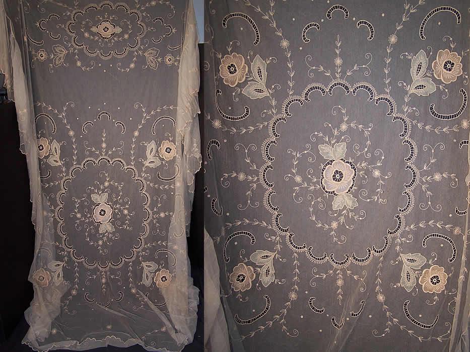 Antique Tambour Embroidery Net Lace Silk Applique Bedspread