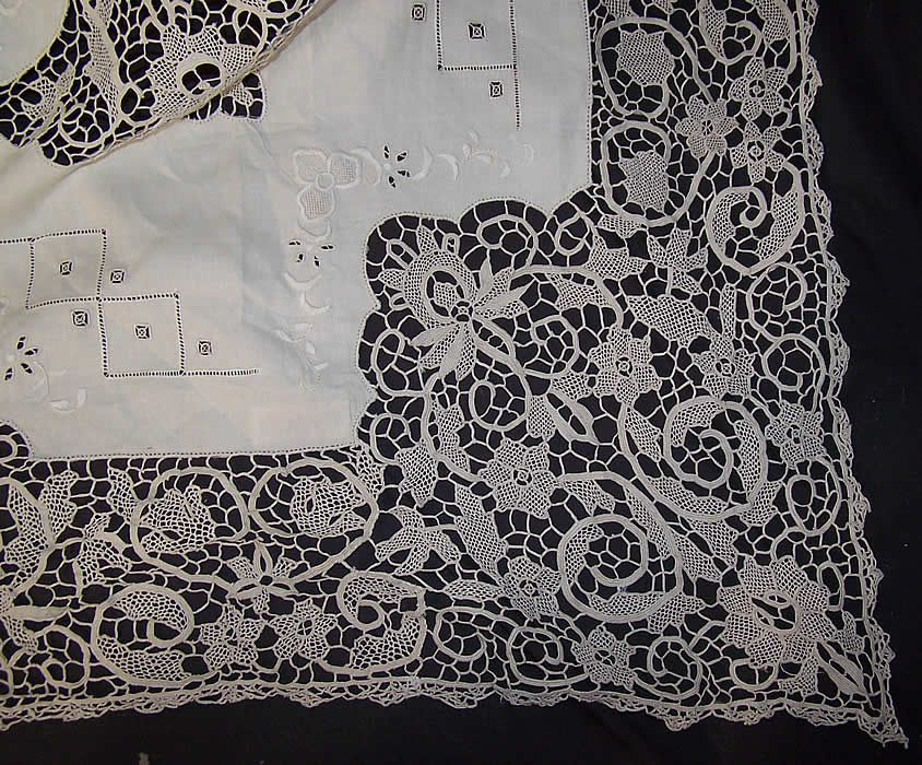 Hand Embroidered Irish Linen Lace Banquet Tablecloth 10
