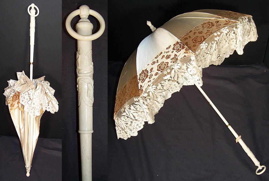 Antique Victorian Cream Silk Brocade Lace Parasol Umbrella ...