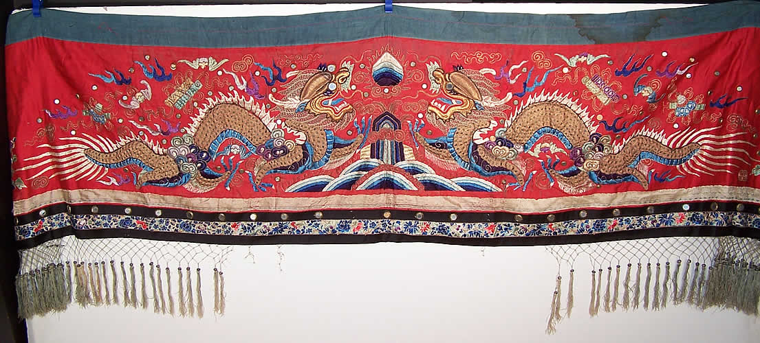 Antique Chinese Dragon Gold Couching Embroidery Mirror Red