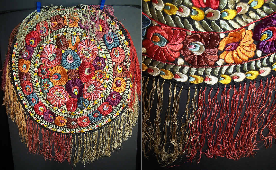 Matyo Hungarian Folk Embroidery Colorful Floral Fringe Round Tablecloth Back View.