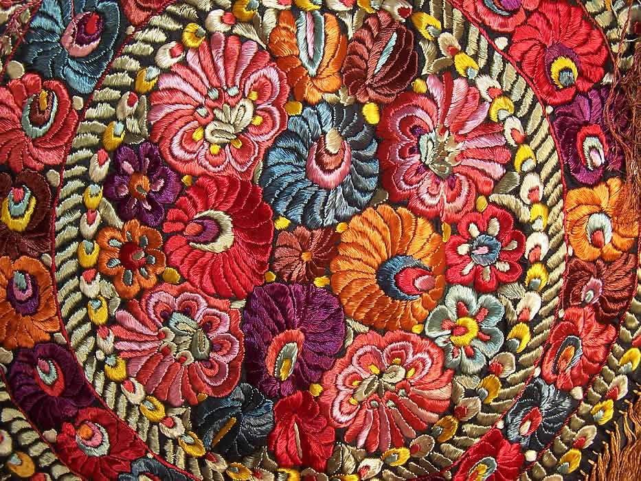 Matyo Hungarian Folk Embroidery Colorful Floral Fringe
