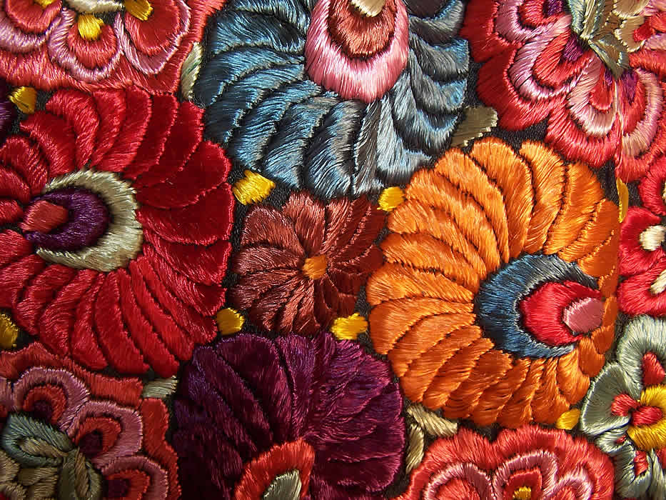 Matyo Hungarian Folk Embroidery Colorful Floral Fringe Round Tablecloth Close up.