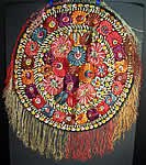 Matyo Hungarian Folk Embroidery Colorful Floral Fringe Round Tablecloth