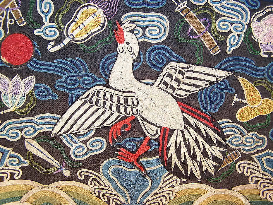 Antique Chinese Forbidden Stitch Couching Embroidery Silver Pheasant
