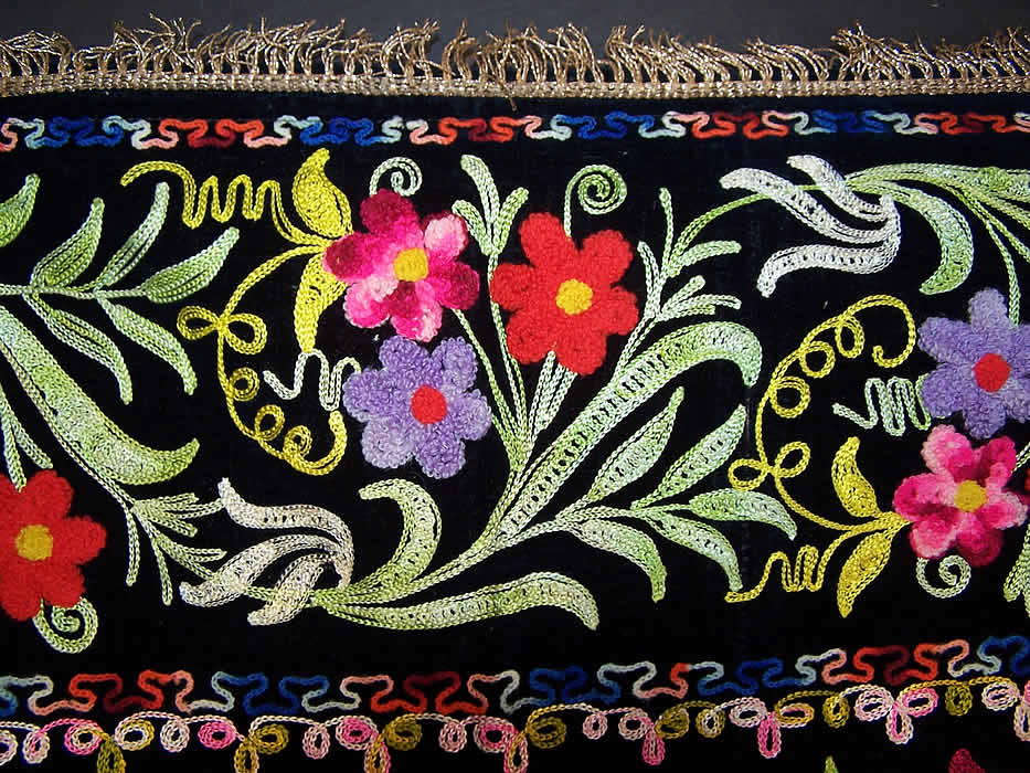 Vintage Black Velvet Tambour Chain Stitch Embroidered ...