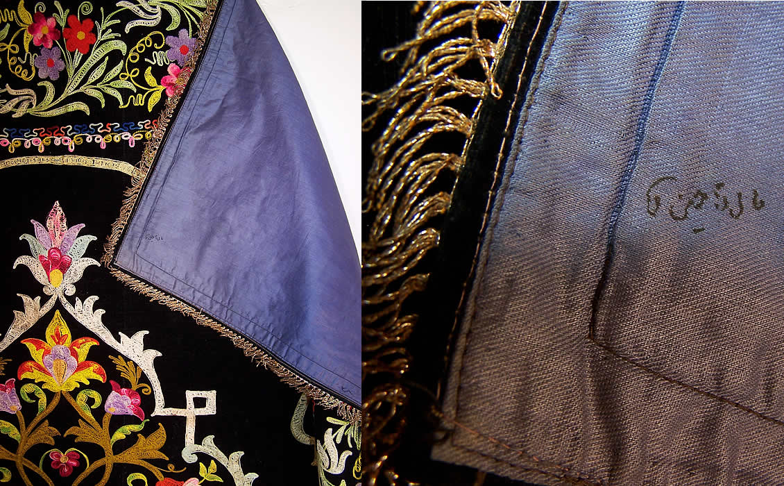 Vintage black velvet tambour chain stitch embroidered