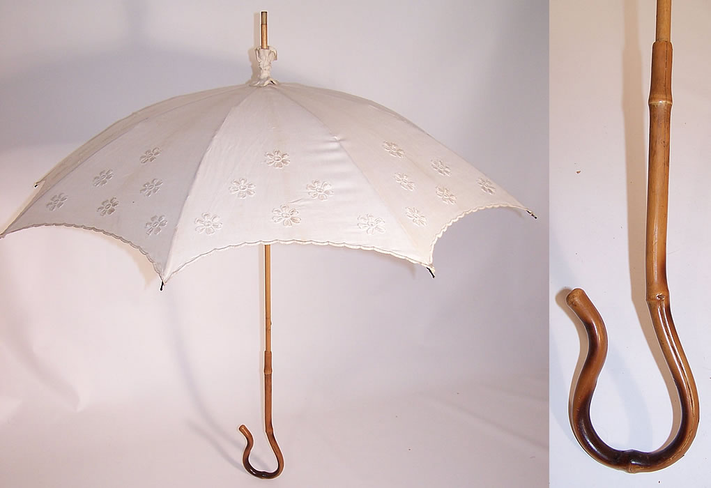 Edwardian Embroidered Floral White Linen Parasol Bamboo Cane Handle