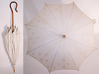 Embroidered Floral White Linen Parasol Bamboo Cane Handle