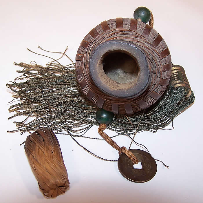 Antique Chinese Coin Jade Bead Tassel Wicker Basket Scent Perfume Herb Bottle Purse inside view.