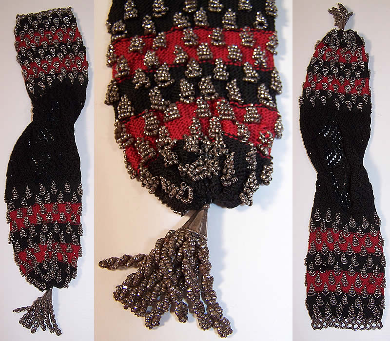Crochet Miser Bag Pattern : Victorian 1860 Antique Red & Black Knit Crochet Steel Cut ...