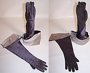 1950s Vintage Gray Silver Satin Suede Leather Ladies Long Evening Gauntlet Gloves