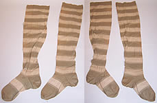Victorian Ladies Green & White Striped Tree Thigh High Garter Stockings Socks