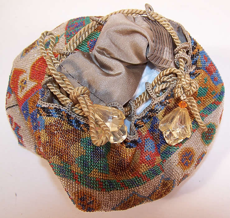 Art Deco Antique Beaded Oriental Rug Design Drawstring Flapper Bag Purse