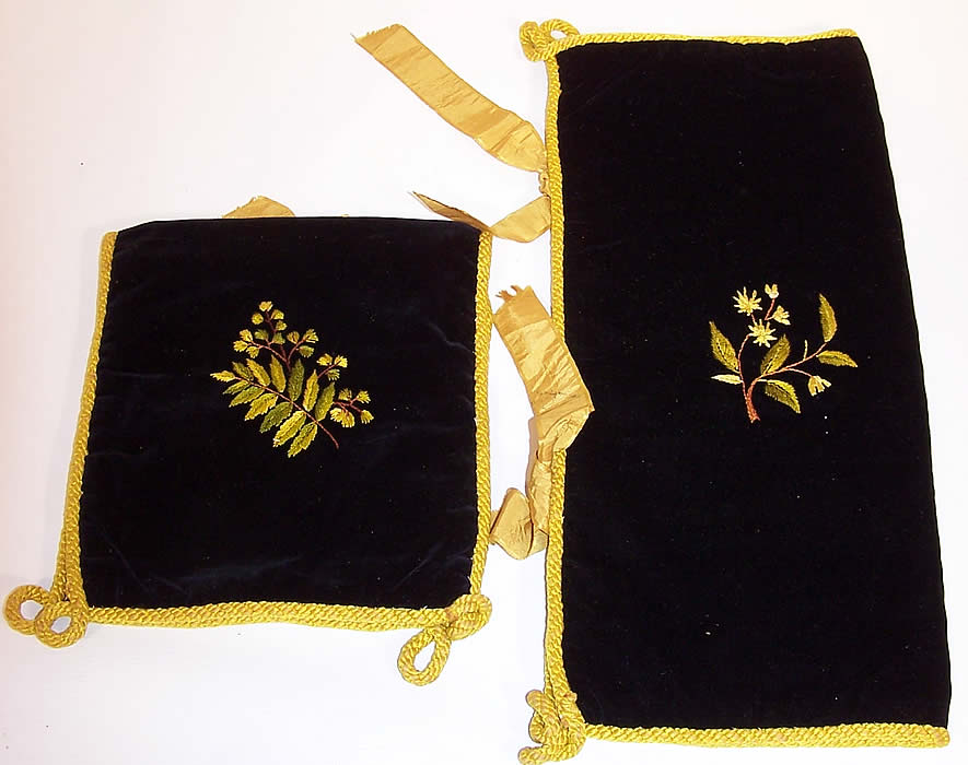 Victorian Velvet Fern Embroidered Lingerie Stocking Glove Hankie Holder Pair