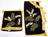 Vintage Victorian Velvet Fern Embroidered Lingerie Stocking Hankie Holder Pair