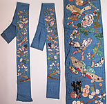 Antique Chinese Silk Embroidered Butterfly Robe Sleeve Band Cuffs Pair