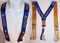 Victorian Antique Walker's Blue & Gold Silk Embroidered Braces Suspenders