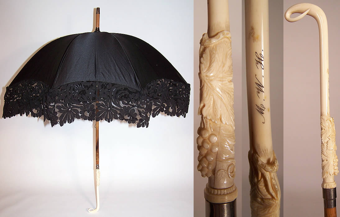 Victorian Black Silk Lace Carved Grape Leaf Handle Parasol