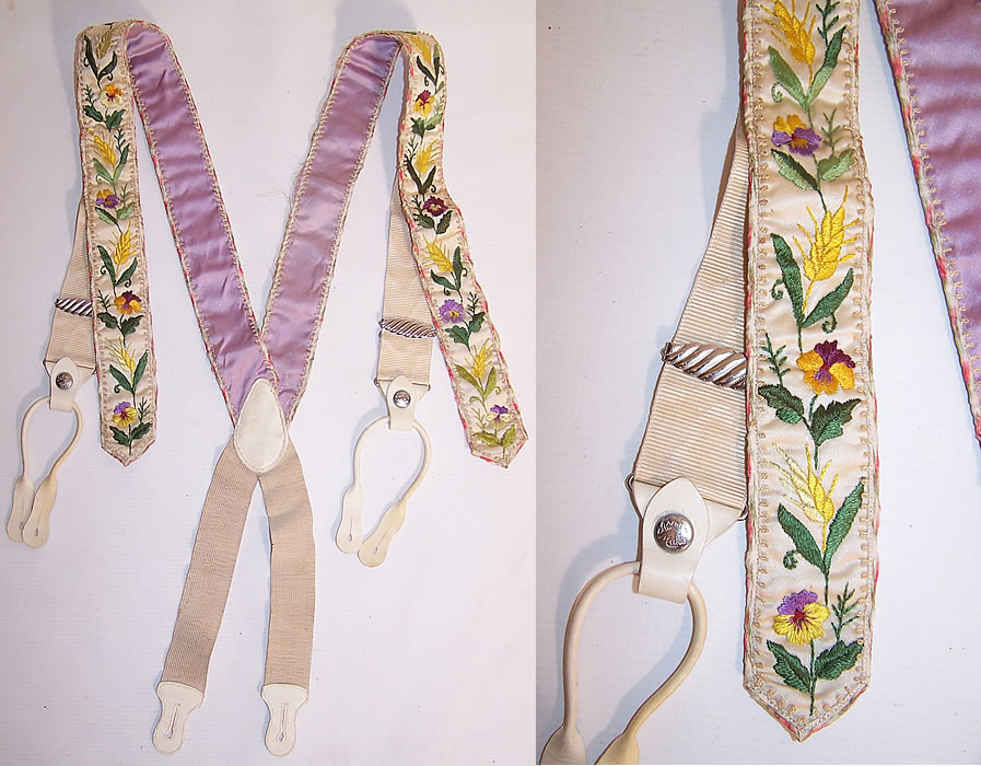 Victorian Crown Make Purple Pansy Embroidered White Silk Suspenders Braces