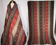 Victorian 1840s Antique Jacquard Hand Loom Wool Paisley Striped Shawl