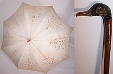 Antique Edwardian White Eyelet Linen Carved Wood Duck Handle Parasol
