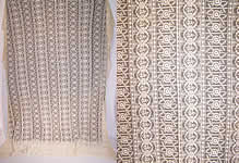 Vintage 1920s Antique Cream Tambour Embroidered Net Lace Bedspread