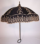 Edwardian Black Cotton Ecru Embroidered Carved Ebony Handle Summer Parasol