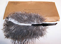 Antique Vintage Ostrich Farm Albertine Curacao Natural Gray Feather Fan & Box