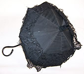 Victorian Civil War Black Silk Lace Ebony Folding Handle Marquis Mourning Parasol