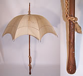 Edwardian Ecru Raw Silk Carved Wood Handle Antique Summer Pagoda Parasol