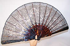 Victorian Antique Geslin A Paris France Black Chantilly Lace French Fan